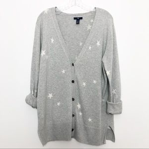 Gap V-neck Star Cardigan Grey & White Size Large